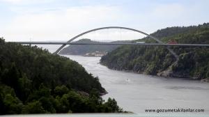 İsveç'i Norveç'e bağlayan köprü. Sağ taraf Norveç, sol taraf İsveç.